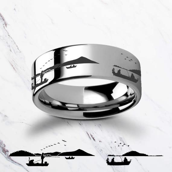 Engraved Fisherman Fishing Ring Landscape Lake Tungsten Ring Flat Polished Finish - 4mm to 12mm Available - Lifetime Size Exchanges