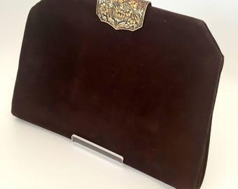 1930s bag purse Art Deco suede J. Duvellory antique vintage
