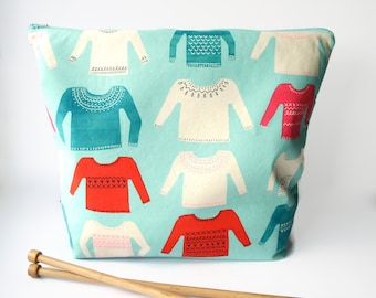 Extra Large Knitting Bag, Sweater Project Bag, Large Crochet Project Bag, XL WIP, Gifts for Knitter - Aqua
