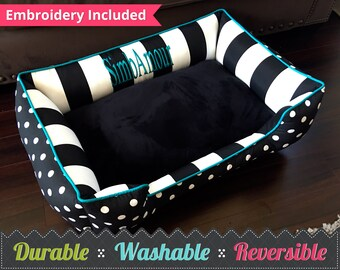 Cat Bed | Washable Cat Bedding | Reversible | Select your own fabric | Dog Bed | Personalized Cat Bed | Free Name Embroidery