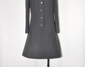 60s gray wool dress / 1960s grey mod dress / vintage gabardine coat dress