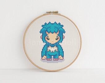 Yeti - a cute pixel art counted cross stitch pattern