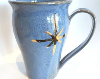 Sky Blue and Gold Star Mug
