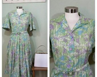 1960s Shirt Dress, Pastel Floral, Belted, full Skirt, Size large, Rockabilly Day Dress