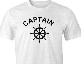 Captain & Ships wheel print t-shirt,Captain  print,Captains printed t-shirt,Sailor print t-shirt,Ships Captain print t-shirt,Ships captain.