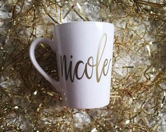 Coffee Mug - Personalized Coffee Mug // Name Coffee Mug // Calligraphy Mug // Bridesmaid