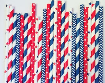 Red White & Blue Party Straws