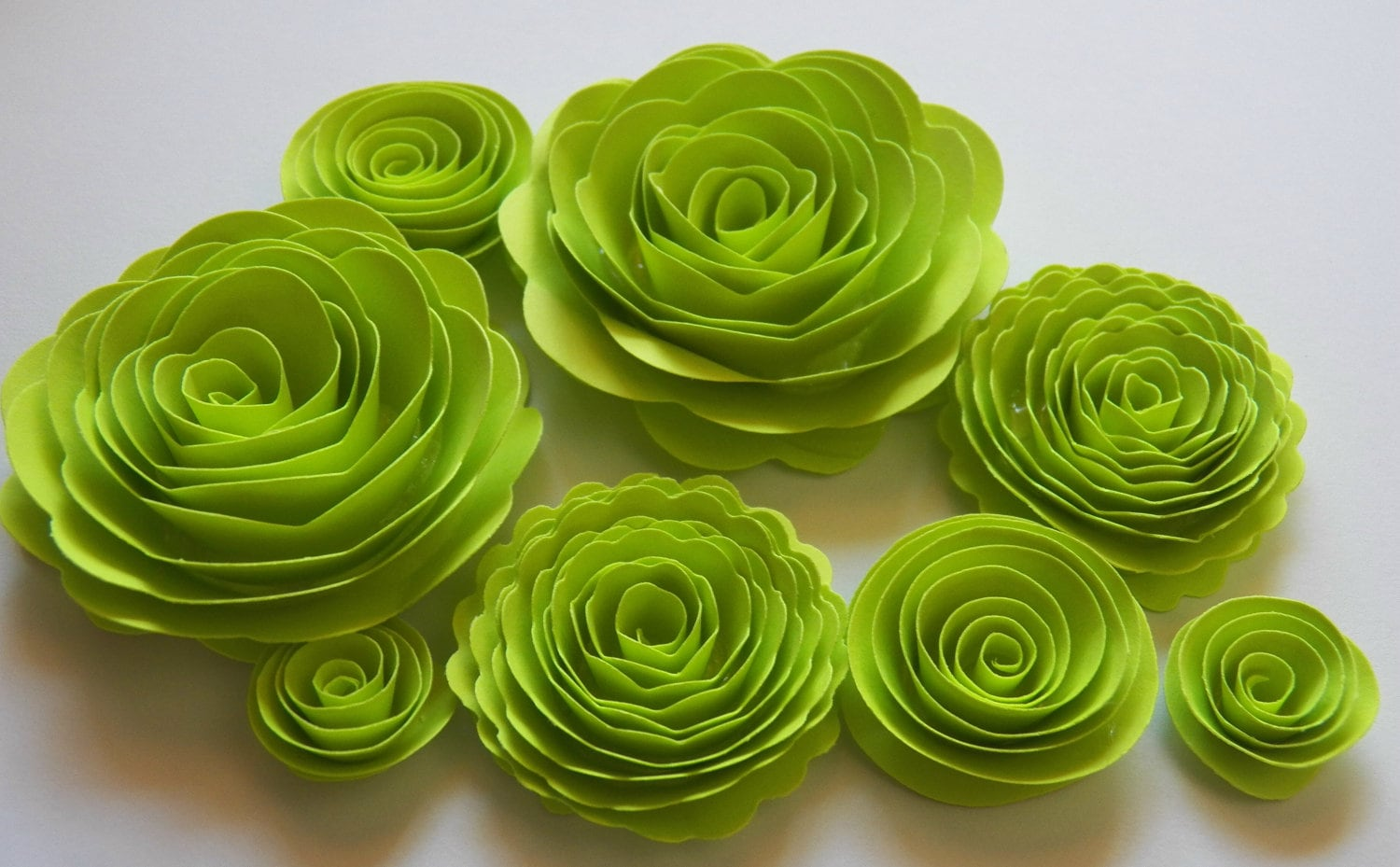 Lime Green Handmade Rose Spiral Paper Flowers Use On Halloween