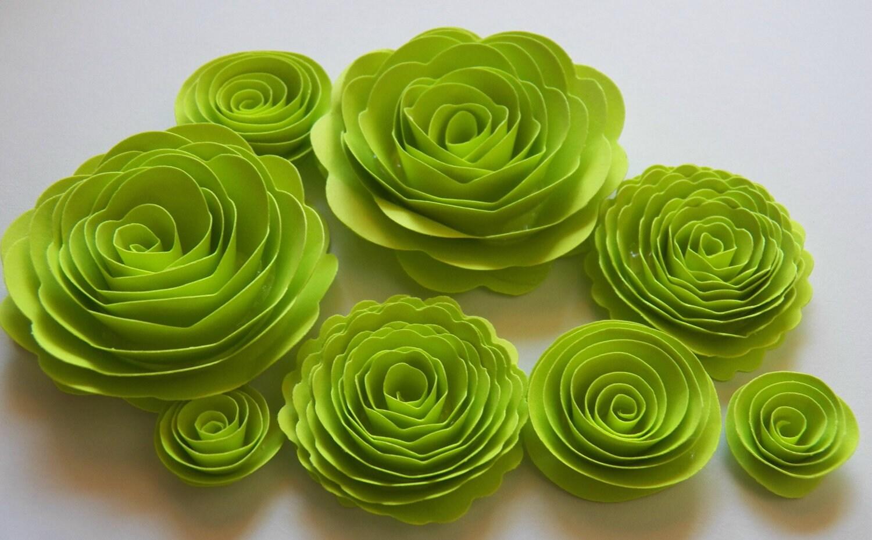 Lime green handmade rose spiral paper flowers use on halloween lime green handmade rose spiral paper flowers use on halloween projects decor crafts mightylinksfo