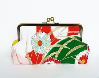 Clutch bag, kimono fabric, multi colour Japanese kimono fabric, evening purse, handbag