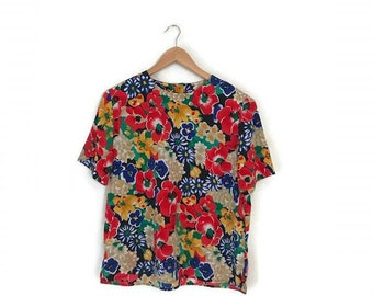 Vintage Bold FLORAL shirt 1980s boxy top garden botanical blouse bright Colorful top boho summer spring Womens Large