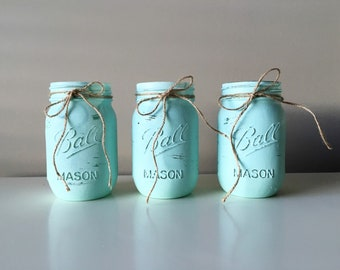 Painted Mason Jars - Distressed Mason Jars - Mint Wedding Centerpieces - Rustic Wedding Decorations - Rustic Centerpiece - Baby Boy Shower