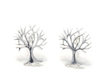 Silver earrings tree of life
