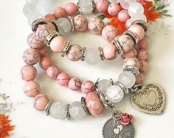 Reserved..Beautiful Je T'Aime I love you french beaded bracelet stack pink magnesite and etched glass beaded bracelet set
