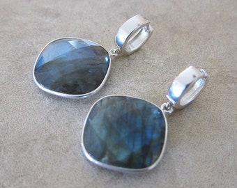 Blue Flash Labradorite Sterling Silver Huggie Hoops Hoop Earrings - Wind Element - by Silla - BFLHHE1
