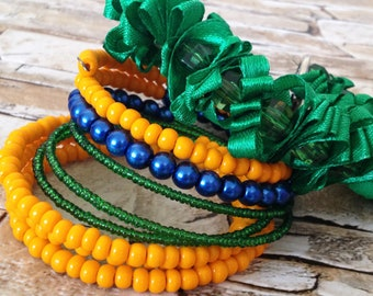 Memory wire beaded bracelet Orange green set 2 bracelets Colorful boho wrap beads bracelets Chunky mulricolor beads ribbons bracelet Gift