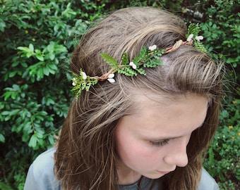 Woodland Wedding Greenery Fern Crown | Boho Flower Crown for Flower Girl | Fern and Berry Simple Greenery Crown