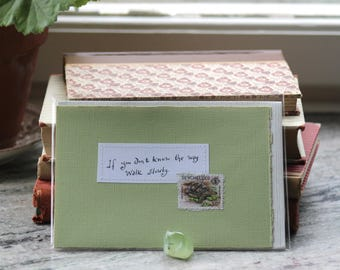 If you don't know the way walk slowly Handmade pale green card with handwritten quote and tortoise postal stamp
