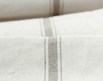 Grain Sack Fabric by the Yard - Five Stripes Tan