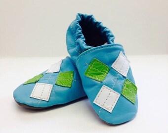 Children - Leather Slippers - Argyle Pattern