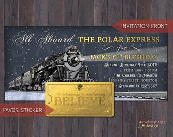 """Polar Express Golden Ticket Birthday Invitation and/or """"Believe"""" Favor Tag DIGITAL FILES"""