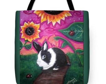 Tote Bag w/Art Print On Both Sides - by Monica - Dutch Bunny Rabbit w/Sunflowers & Ladybugs - Functional Art!
