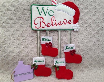 Personalised Christmas Plaque - Embriodered Xmas  Stocking Sign With family Names -Made To Order