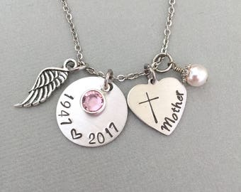 Customized Angel Wing Necklace, Memorial Necklace, Sympathy Gift, Memorable Necklace, Remembrance Gift, Cross Necklace, Date Necklace, RIP