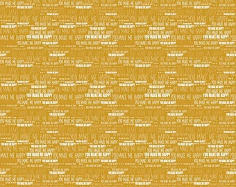Riley Blake, When Skies are Gray by Simple Simon & Co., Skies Words Gold, fabric by the yard