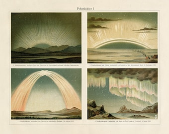 Vintage Aurora Borealis Northern Lights Art Print  - Astronomy Poster - Astrology Poster  - Science Poster - Museum Quality
