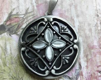 Brushed Silver Ornate Round Locket Pendant  DIY Jewelry Making Supplies