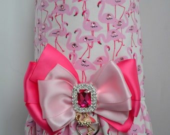 Dog Harness Vest, Flamingo Dog Harness or Dress, Beach Harness for Dog, Large or Small Dog Clothes, Puppy Harness, Pink Dog Dress