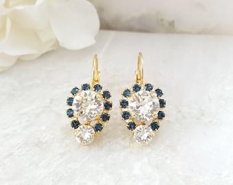 Sapphire and Diamond Earrings - Swarovski Montana Blue Earrings - Dark Blue Earrings - Navy Crystal Earrings - September Birthstone E3363