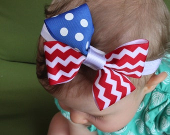Labor Day/4th of July/Memorial Day/Troops/Patriotic/American Flag Bow