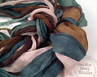Hand Painted Silk Ribbon - Silky Ribbon - Fairy Ribbon - Jewelry Supplies - Wrap Bracelet - Craft Supplies - Simple Nature Color Palette