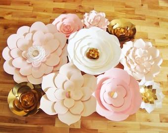 Set of 10 Paper Flowers - Paper Flower Wall | Paper Flower Wedding | Paper Flower Decor | Baby Nursery | Baby Nursery Decor | Paper Flowers