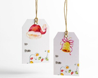 Watercolor Xmas Gift Tags, 8 Designs, Watercolor, Merry Christmas, Printable Gift Tags