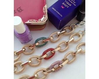 coloured pave & Gold chain bracelet -