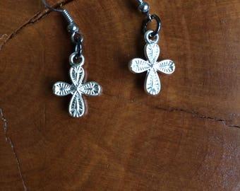 Cross Earrings. Textured Cross Earrings, Silver Cross Earrings