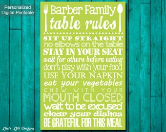 Kitchen Decor. Table Manners Sign. Family Table Rules Sign. Dinner Rules Sign. Kitchen Wall Art. Dining Room Wall Art. Family Rules Sign.