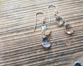 Ametrine Earrings // Amethyst and Citrine // Dangle Earrings // Crystal Jewelry // Sterling Silver // 14k Gold // Rose Gold // French Hooks