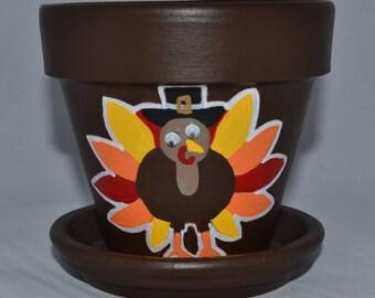 """Gobble Gobble Turkey Hand Painted 4"""" Flower Pot"""