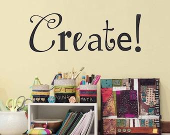 Create Decal - Craft Room or Art Studio Wall Decal - Artist Decor
