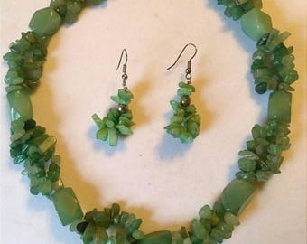 Green Jade Stone Necklace And Earrings, Chunky Necklace, Accessories, Boutique, Fashion Jewelry