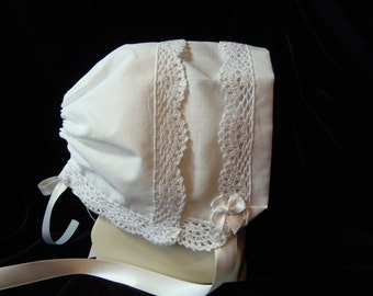 Handkerchief Baby Bonnet CLASSIC LACE White Heirloom Magic Hanky Wedding Baby Bonnet for baby showers Christening or just to wear