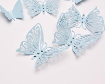 Blue Wall Art Butterflies - 3D Paper Wall Butterflies - Butterfly Room Decor - Butterfly Party Decoration