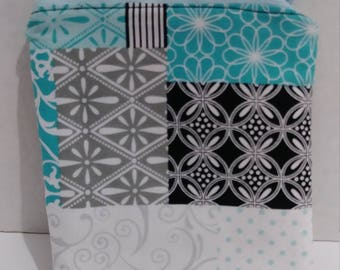 Black, gray, white, & teal coin zipper pouch