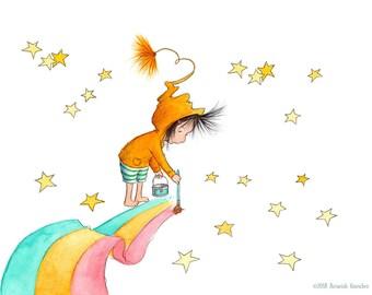 Reproduction d'Art - fille brune - arc en ciel et des étoiles