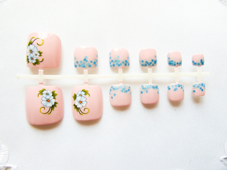 Baby Pink Floral Toenail Set, Flower Fake Toenails, Toe Nails, Fake ...