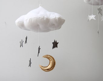 Luxe Graphite Star Cloud Mobile in Metallic Leather and Linen